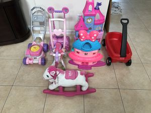 Lot of 7 Girls Toys Castle Wagon Rocking Horse Disney Fisher Price Lawnmower etc for Sale in West Palm Beach, FL