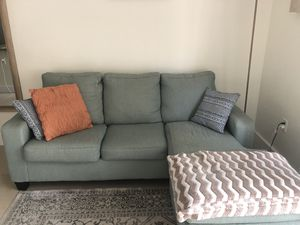 Baby blue L shaped couch for Sale in Miami, FL