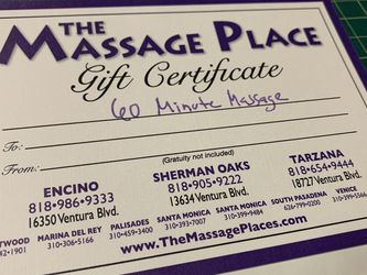 Gift Certificate - 1 Hour Massage $54, Selling For $46 for Sale in Alhambra,  CA