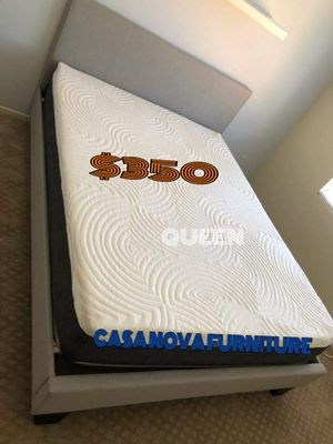 """BRAND NEW BED FRAME QUEEN COMES IN BOX 🔊🔊🔊🔊🔊WITH 12""""MEMORY FOAM MATTRESS INCLUDED $350🔊🔊🔊🔊🔊🔊🔊AVAILABLE FOR SAME DAY DELIVERY OR PICK UP for Sale in Compton, CA"""
