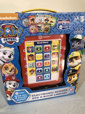 Paw patrol electronic reader and 8 book library for Sale in Austell, GA