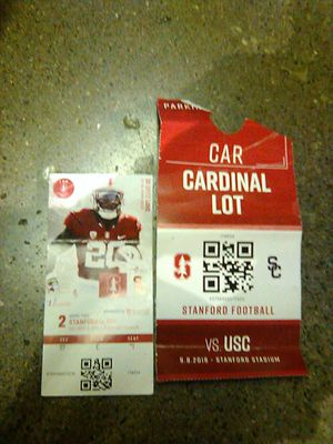Stanford vs. usc ticket with parking pass for Sale in San Francisco, CA