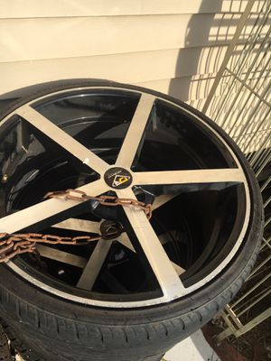 """20"""" rims and tires they will fit on Ford car 5 lug for Sale in Baton Rouge, LA"""