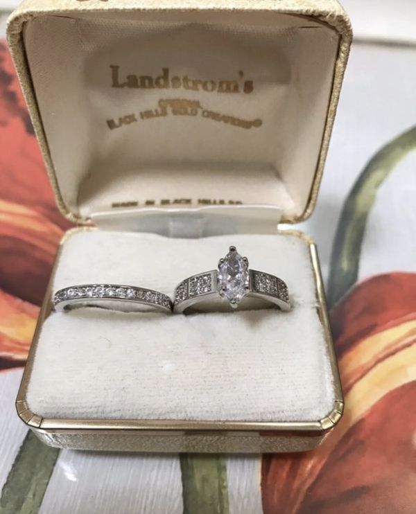 925 Stamped Sterling silver Sapphire Engagement/Wedding Ring