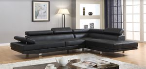 Black chrome modern right chaise sectional sofa for Sale in Hollywood, FL