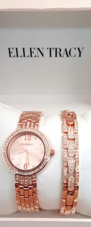 Brand New Ellen Tracy Women's Crystal Rose Gold Watch and Bracelet Set in Gift Box for Sale in Boca Raton, FL