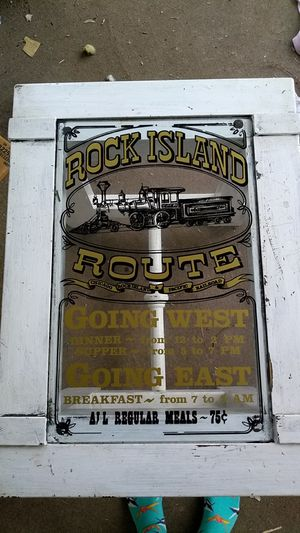 """Antique glass end table """"Rick island route Chicago Pacific railroad"""" for Sale in St. Louis, MO"""