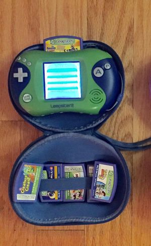 Leapfrog Leapster with case, 5 games and AC cable for Sale in Tampa, FL