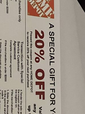 Home Depot Coupon 20% off from purchasing any for Sale in Sanford, FL