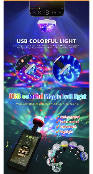 Car and iphone Mini USB Party Colorful light Sound Activated Rotating Disco Ball DJ Party Lights RGB LED Stage Lights For Car Bar Club Wedding for Sale in Alhambra, CA
