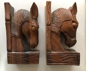 Vintage Wooden Horse Head Bookends Mid century Handcrafted for Sale in Alameda, CA