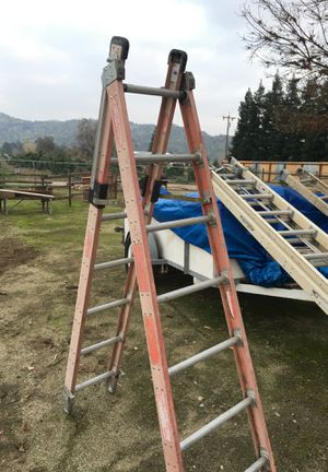 Extension 24 foot ladder a frame 7 foot ladder 10 foot attic ladder for Sale in Woodlake, CA