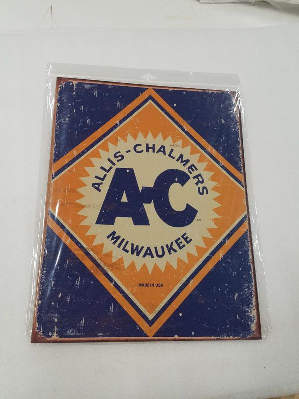 Allis Chalmers farm tractor logo metal sign