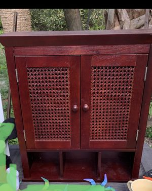 Wood bathroom wall cabinet. Please see pictures for measurements. Pick up in for Sale in Jupiter, FL