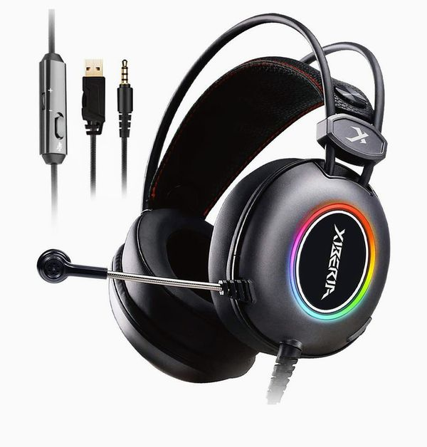E3 Black Gaming Headset, Over-Ear Stereo Gaming Headphones with Uni-Directional Microphone for PC, Computer, Laptop, PS4, Xbox One, Nintendo Switch