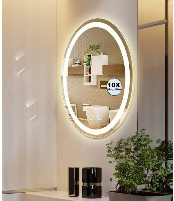 Wall Mounted Anti-Fog Dimmable Touch Button Mirror LED Lighted Oval Vanity Bathroom Makeup Mirrors with Magnifier