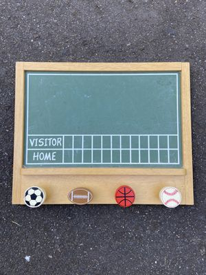 Sporty chalkboard with hooks 17x 13.75 for Sale in Snohomish, WA