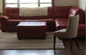 Preowned Leather Living Room Furniture Sectional Sofa Set in Red for Sale in Reeder, ND