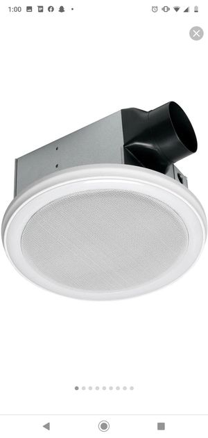 Decorative White 110 CFM Ceiling Mount Bluetooth Stereo Speakers Bathroom Exhaust Fan with LED Light for Sale in Glendale, AZ