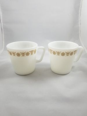 Yellow butterfly pyrex milk glass coffee mugs cups set of 2 for Sale in Chandler, AZ
