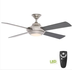 Home Decorators Collection Moonlight II 52 in. LED Indoor Brushed Nickel Ceiling Fan with Light Kit and Remote Control Home and Garden TX for Sale in Houston, TX