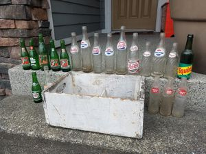 Crate of Vintage Soda Pop Bottles for Sale in Puyallup, WA