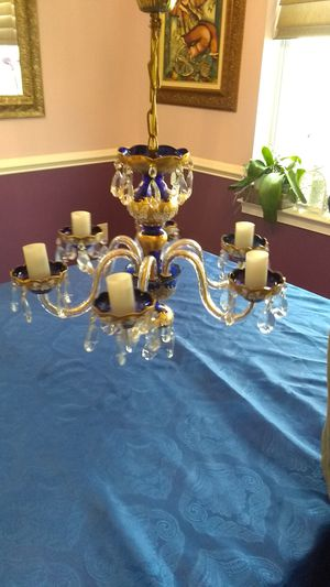 Antique Bohimian Blown Glass and Crystal Chandalier for Sale in Yardley, PA