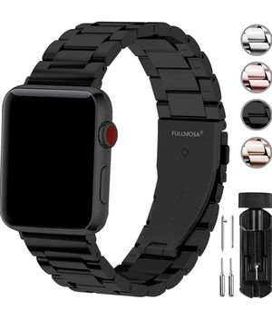 Fullmosa Compatible Apple Watch Band 42mm 44mm 38mm 40mm, Stainless Steel Metal for Apple Watch Series 5 4 3 2 1 Bands, 42mm 44mm Black for Sale in Las Vegas, NV