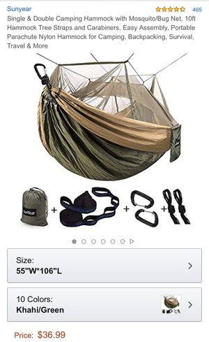 Single & Double Camping Hammock with Mosquito/Bug Net, for Sale in Los Angeles, CA