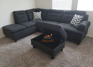 Brand New Charcoal Linen Sectional Sofa Couch + Storage Ottoman for Sale in Wheaton-Glenmont, MD