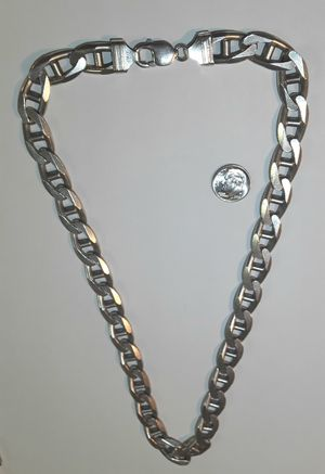 """Real Solid .925 Italy Sterling Silver Mariner Anchor Link Necklace 22"""" 12mm for Sale in Hollywood, FL"""