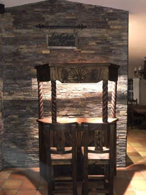 Handmade Wooden Bar, with two bar stools for Sale in Boca Raton, FL