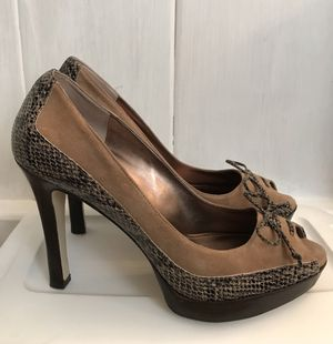 MARC FISHER Carmel Suede Snakeskin Peep Toe Heels Size 9M 🌟Animal Print -HUGE TREND🌟 for Sale in San Jose, CA