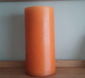 OHaruest Orange Solid R ound Pillar Candle*Huge*Heavyweight for Sale in Gaithersburg, MD