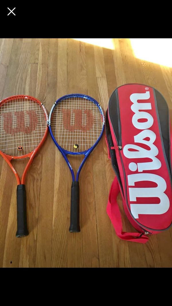 Two Wilson tennis rackets brand new with bag