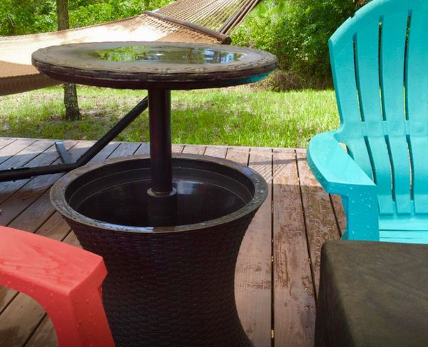 Cool Bar Outdoor Patio Furniture and Hot Tub Side Table with 7.5 Gallon Beer and Wine Cooler, Espresso Brown