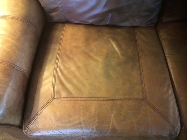 Brown Leather Reclining Sofa / Couch