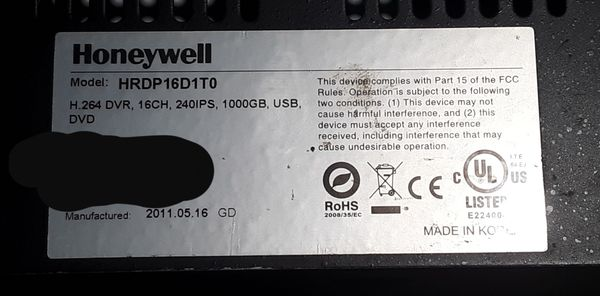 Honeywell HRDP16D1T0  H 264 DVR 16 ch  240ips 1000GB  USB  DVD for Sale in  Baytown, TX - OfferUp