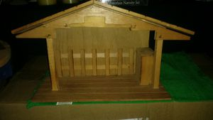 Homemade Wooden Christmas Manger, Stable, Nativity and 12 pc.Porcelain Nativity Set. for Sale in Hannibal, MO