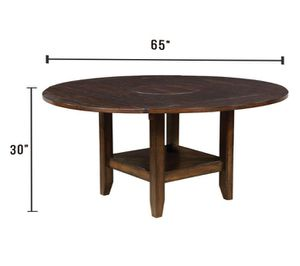 Round Dining Table with 2 Shelves in Brown Cherry Finish for Sale in Pomona, CA