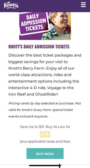 Knotts berry farm tickets $35 for Sale in Bell Gardens, CA