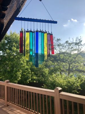 Chakra Rainbow Stained Colored Glass Wind Chime Sun Catcher Beautiful for Sale in Nashville, TN