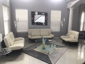 White and Black leather living room couch set $300 for Sale in Las Vegas, NV