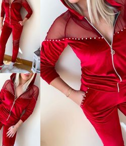 Woman Sweats With Velvet In Red Free Size for Sale in Garden Grove,  CA