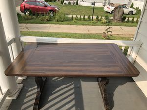 Farmhouse table with four chairs and two table extenders. See pics for measurements. for Sale in Bridgeport, CT