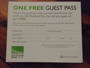 One Guest Pass to the Woodland Park Zoo with membership-goer for Sale in Seattle, WA
