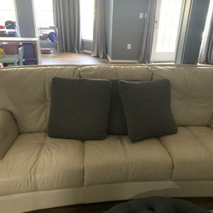 Cream Leather Sofa for Sale in Ashburn, VA