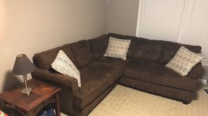 Brown Microfiber Sectional Couch for Sale in Raleigh, NC