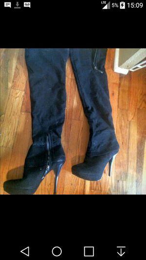 Black suede thigh high boots size 7 for Sale in Arlington, TX