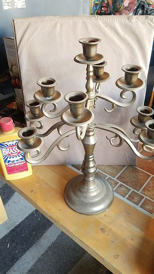 "Antique 9 candle brass candelabra 15"" x 12"" includes free Brasso cleaner! for Sale in Las Vegas, NV"